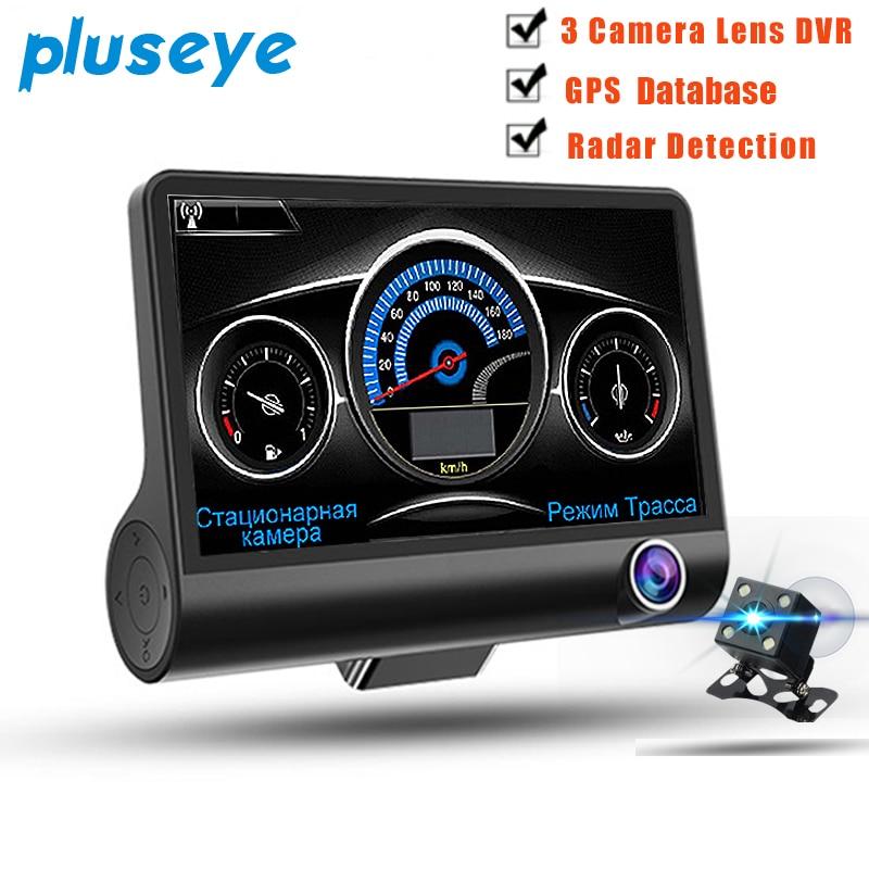 pluseye 3 in 1 Car DVR Anti Radar Detector Gps Database 4.0 inch screen 3 camera Night vision G-sensor dash cam free shipping