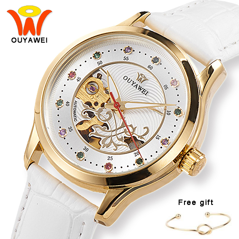 OUYAWEI White Skeleton Dial Leather Automatic Mechanical Watches Women Fashion Gold Case Wrist Watch For Fashion Ladies Girls