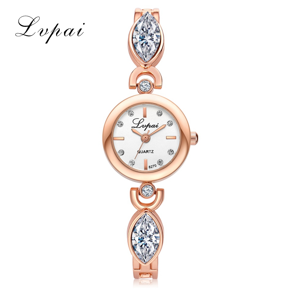 New Arrival Lvpai Luxury Brand Women Bangle Watch Dress Clock Lady Gold Rhinestone Quartz Bracelet Watch Women Wrist Watches weiqin new 100% ceramic watches women clock dress wristwatch lady quartz watch waterproof diamond gold watches luxury brand