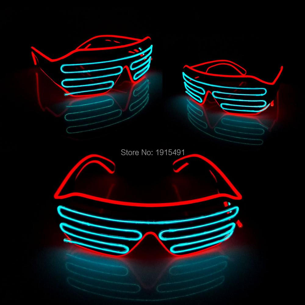 Bi-Color Red+Sky Blue Glowing Party Supplies Holiday Lighting Luminous Fancy 3 Modes Quick Flashing EL Led Light Shutter Glasses