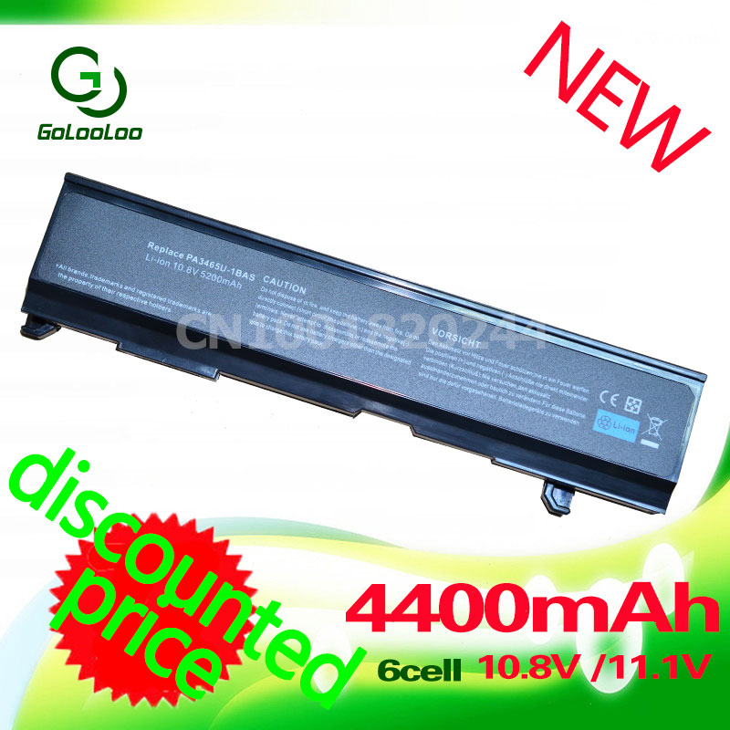 Golooloo 11.1/10.8V 4400mAh Replacement Laptop Battery For Toshiba 3451 Dynabook AX/55A TW/750LS A100,A105,A135,A85,A110,M50,M70