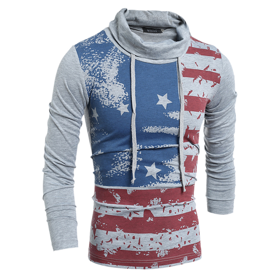 White gray polo shirt men star flag printed patchwork man shirts male long sleeve hooded cotton