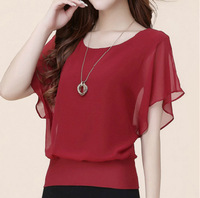 Plus Size S XXXXL Women Tops Summer Chiffon Blouse Suitable For Fat Girls Look Silm Ruffle