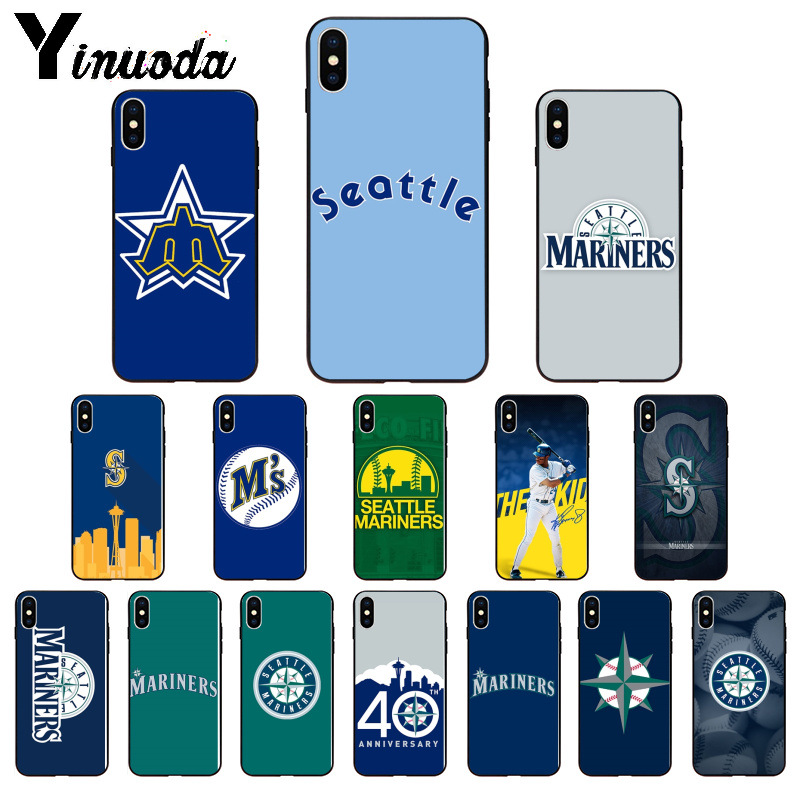 Yinuoda Seattle Mariners baseball Soft Silicone TPU Phone Cover for iPhone 5 5Sx 6 7 7plus 8 8Plus X XS MAX XR image