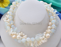 Wholesale free shipping >>4strands cream white opal white baroque freshwater pearl necklace 17inch