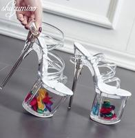 Women Shoes Sandals Steel Pipe Dance Shoes Super High Heel 17cm Peep Toe Buckle Strap Thick