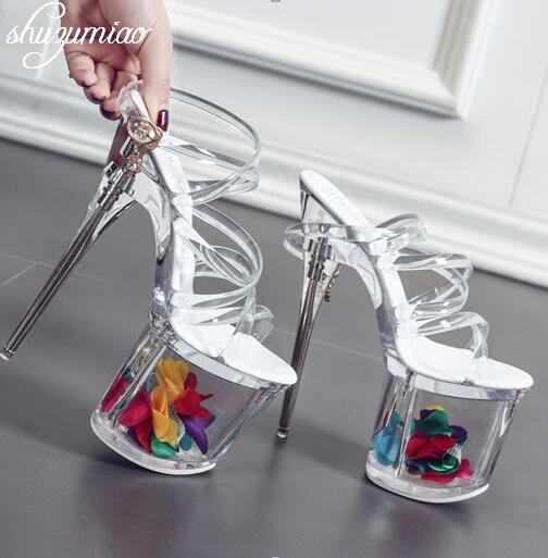 Women shoes Sandals Steel Pipe Dance Shoes Super High Heel 18cm Peep Toe Buckle Strap Thick Soles Platforms Bridal Shoes stylish women s peep toe shoes with buckle strap and chunky heel design