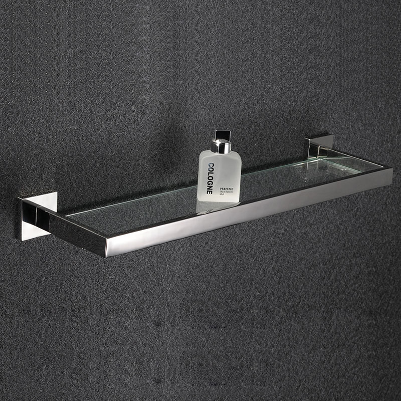 Bathroom tempered glass shelf wall mount rectangular - Bathroom shelves stainless steel ...