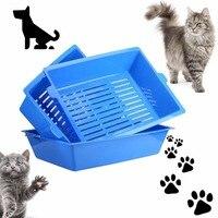 3ピース猫bedpansセミクローズド抗スプラッシュ猫トイレ猫砂ボックスプラスチック便器ケースペット用品3連動トレイ簡単を使用