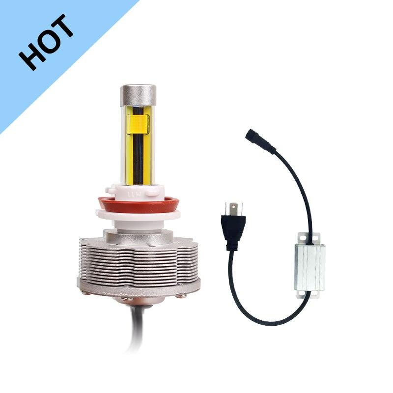 ФОТО H11 High Quality LED Fog Lamps External Lights LED Cars Bulbs 2SMD Fog Lights Golden Light 3000K DC 10 40 Valtage