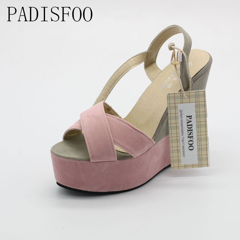 POADISFOO 2017 Summer Sandals With New high heeled Wedge With The Color Of The United Kingdom