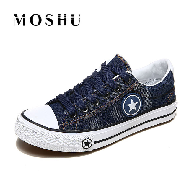 Fashion Women Sneakers Denim Casual Shoes Female Summer Canvas Shoes Trainers Lace Up Ladies Basket femme Stars tenis feminino 2
