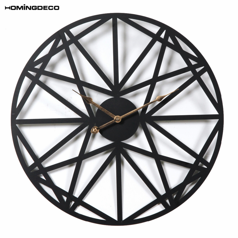 Homingdeco 50CM Creative Retro Round Wall Clock Household Five-Pointed Star Pattern Iron Hanging Clocks Roman Numerals - Black