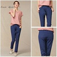 2016 letnie nowe Imitacja bawełny Dziewięć spodnie Haren Spodnie plus rozmiar w pasie spodnie baggy Prawdziwy zastrzyk