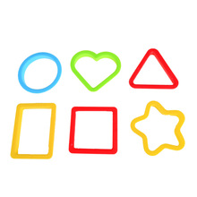 6pcs BOHS Geometric Heart Shape Triangle Circular Play Dough Playdough Polymer Clay Mold Tools Set Kit