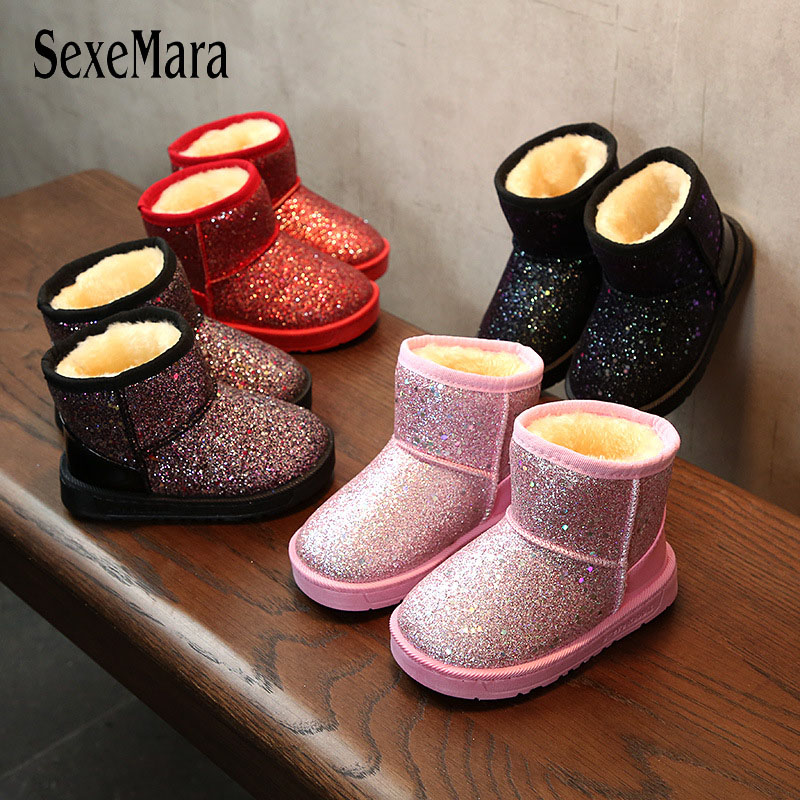 New Arrival 2017 Bling Winter Shoes For Girls Plush Toddler Boy Boots Kids Keeping Warm Baby Snow Boots Children Shoes A11101