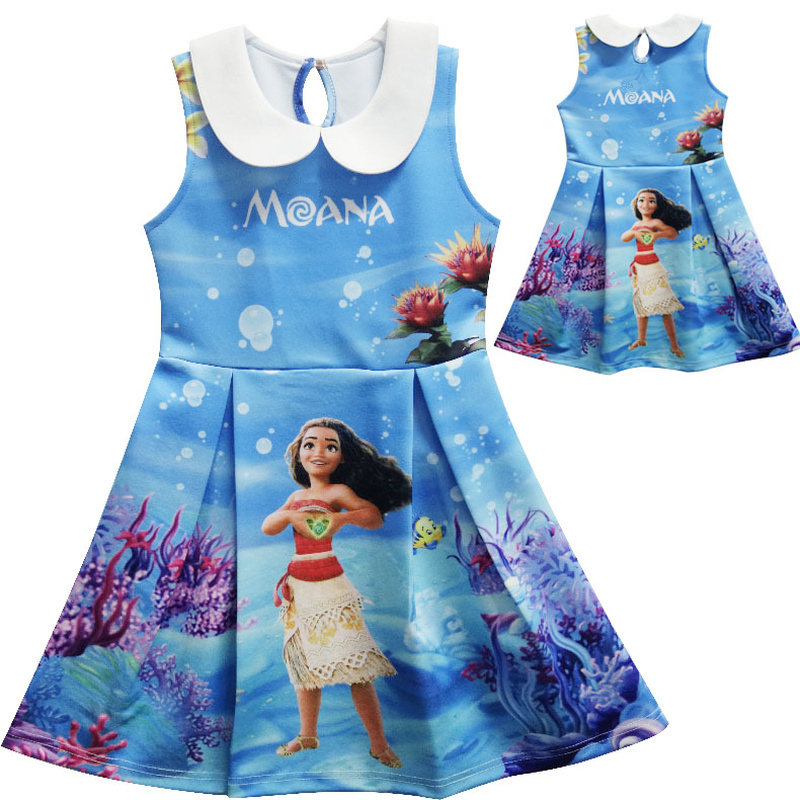 Moana Dress Children Clothing Summer Sleeveless Dresses Baby Girl Princess Birthday Party Costume Dress Kid Girls Casual Clothes summer baby girl printed pattern straps dresses toddler girls baby clothing sleeveless baby dress kids casual clothes yp