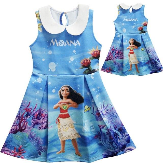 06dd524790d88 Moana اللباس الأطفال ملابس الصيف فساتين بلا أكمام طفلة الأميرة عيد ميلاد  حزب فستان مُصمم حسب