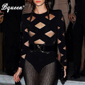 Bqueen 2017 New Style Fashion Mesh Patchwork Long Sleeve  Sexy Bandage Bodysuit Black