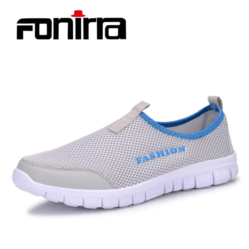 FONIRRA Men Casual Shoes 2017 New Summer Breathable Mesh Casual Shoes Size 34-46 Slip On Soft Men's Loafers Outdoors Shoes 131 solar 10a 10amp battery charge controller tracer1215bn 12v 24v auto work mppt epever usb sensor mt50 remote meter epsolar page 1