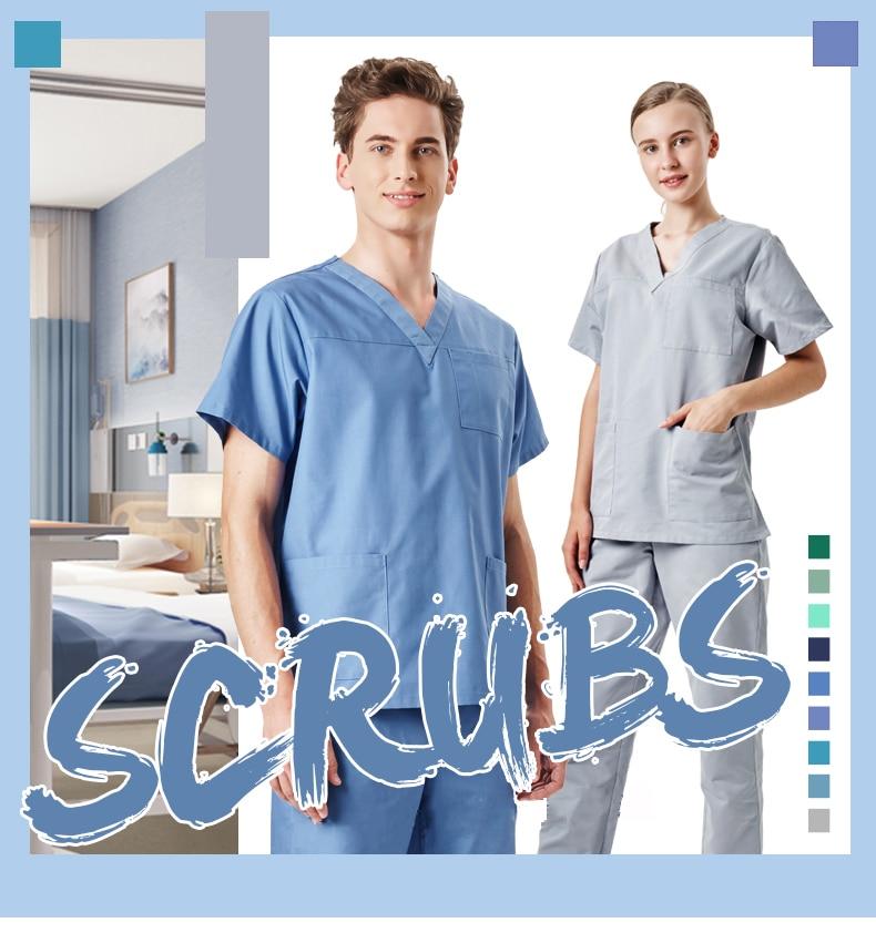 9676849959e 14 Colors Men's Medical Uniform Nursing Scrub Set Hospital Workwear ...