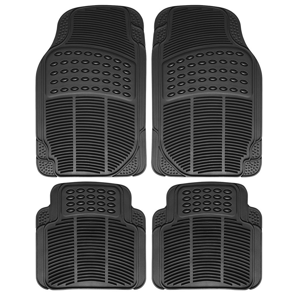 Rubber floor mats chevy traverse - 4 Piece Full Set Universal Fit Front Rear Driver Passenger Seat Ridged Water Resistant Anti