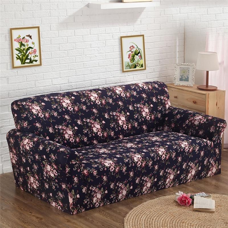 Slipcover Printed Sofa Furniture Cover Slip-resistant Cloth Art Spandex Stretch Sofa Cover for Single/Two/Three/Four-seat Sofa