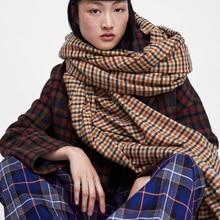 Pashmina de Cachemira a cuadros para otoño e invierno, bufanda gruesa y cálida para mujer, chal de marca, 2018