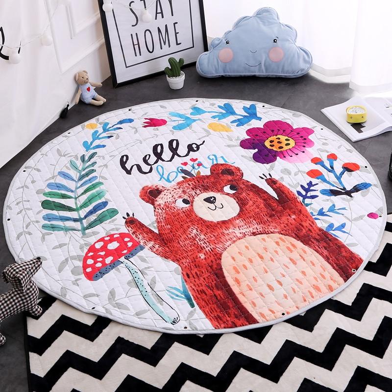1.5M Round Cartoon Animals Printing Rugs Kids Play Game Toys Storage Mat Baby Childrens Picnic Trip Canvas Rest Crawling Carpet