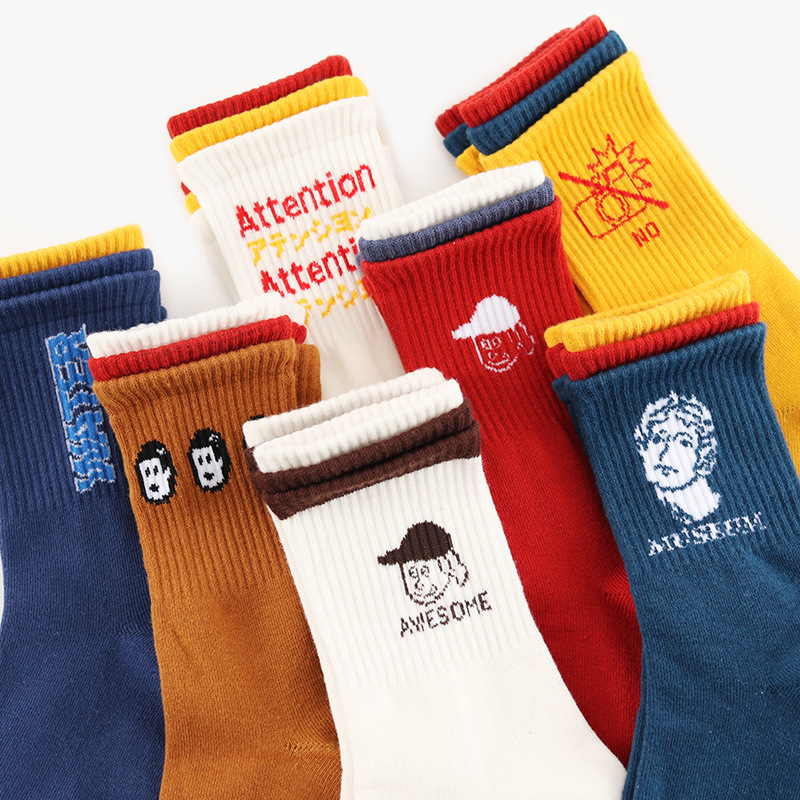 Harajuku Cartoon Women Solid Skateboard Socks Special Hipster Head & Letter Patterned Women Funny Crew Hipster Casual Art Sox image