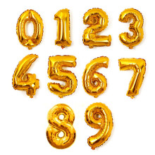 New 1Pcs 16inch Cute Gold Foil Letters Number 0-9 Balloons New Year Birthday Party Wedding Decoration Love Ballon free shipping