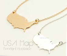 1PCS- N017 Outline United States Map Necklace USA Silhouette Map Necklace Geometric America Country Nation Necklace for earth cooking across america country comfort