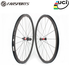 Farsports FSC38-CM-25 DT240(36 Ratchets) 700c 25mm wide carbon wheels 38mm, U shape clincher carbon bicycle wheels with sapim