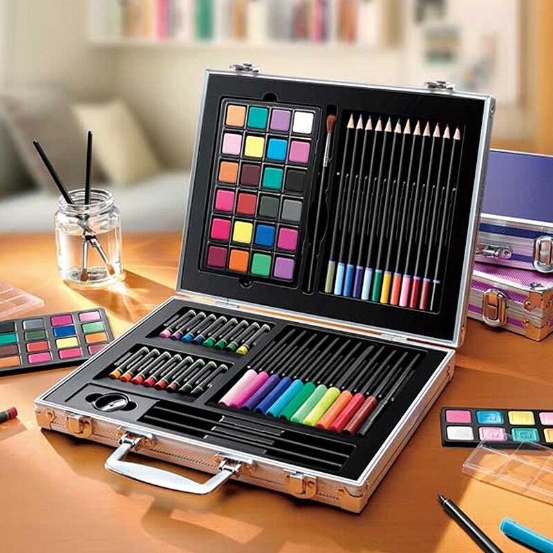 Enfants de Peinture Ensemble Combinaison Cadeau Boîte 24 Couleur Solide Aquarelle Stylo Pinceau Couleur Crayon Pastel À L'huile Croquis Crayon