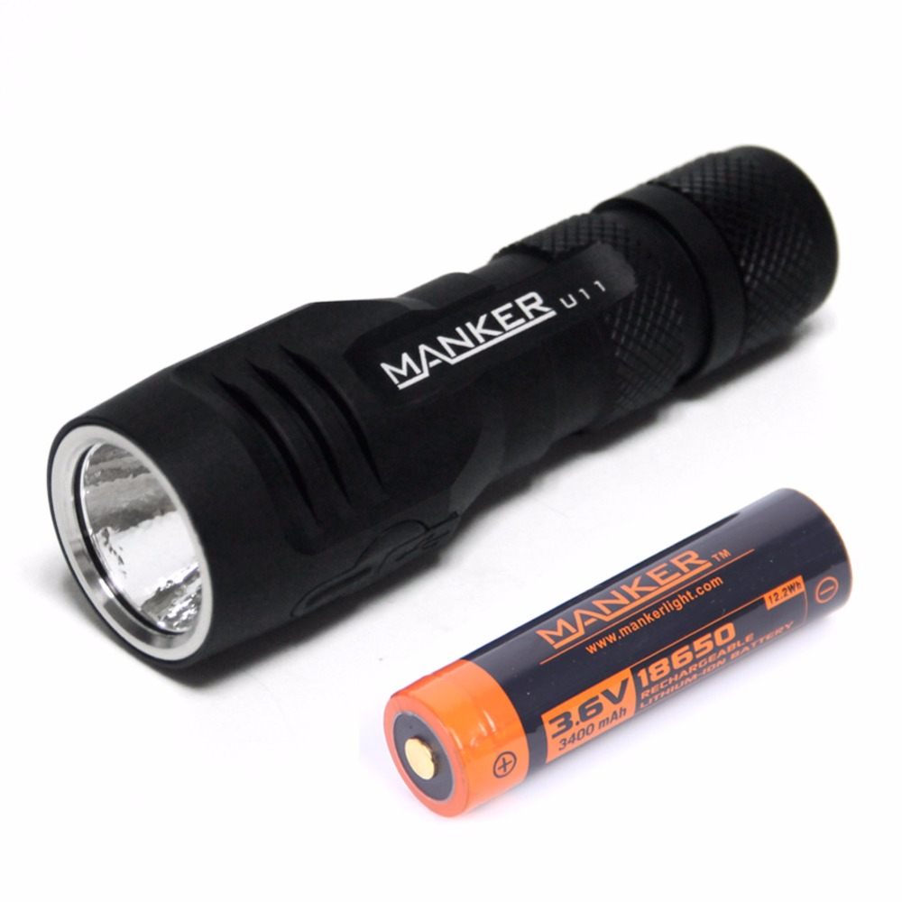 Manker U11 1050 Lumens Cree XPL LED 18650 Flashlight Micro USB Charging Torch + 3400mAh 18650 Rechargeable Battery Included jetbeam ec r26 cree xpl 1080 lumens led flashlight recharger with micro usb port by 18650 battery for self defense