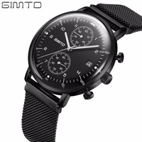GIMTO Raised Arched Glass Sport Watches For Men Military Function Chronograph Watches Men Luminous Mens Watches