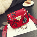 China's national style mini female bag The butterfly and flower embroidery messenger bag Fashion Rivet color nail vintage bag