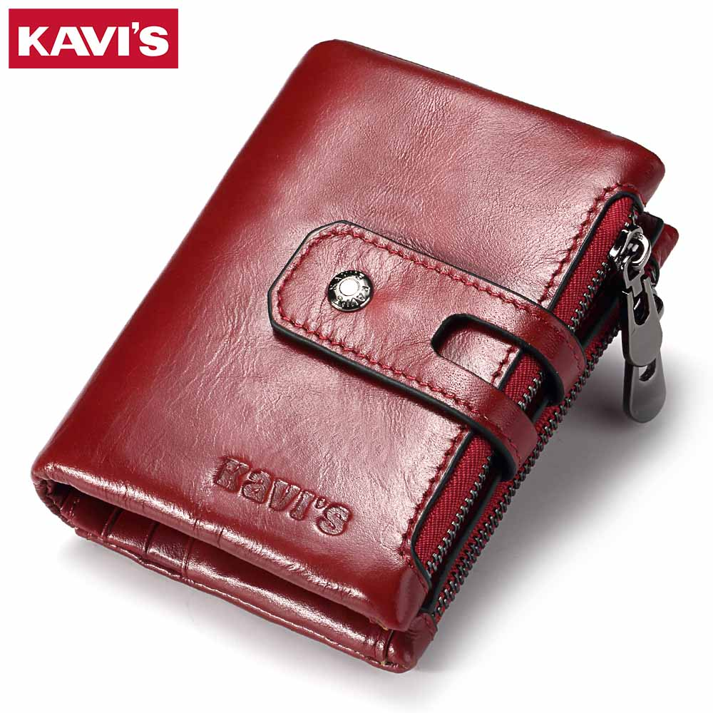 KAVIS Genuine Leather Women Wallet Female Small Walet Portomonee Lady Mini Zipper Money Bag Vallet Coin Purse Card Holder Perse thinkthendo 3 color retro women lady purse zipper small wallet coin key holder case pouch bag new design