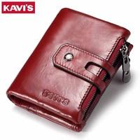 KAVIS Genuine Leather Women Wallet Female Small Walet Portomonee Lady Mini Zipper Money Bag Vallet Coin