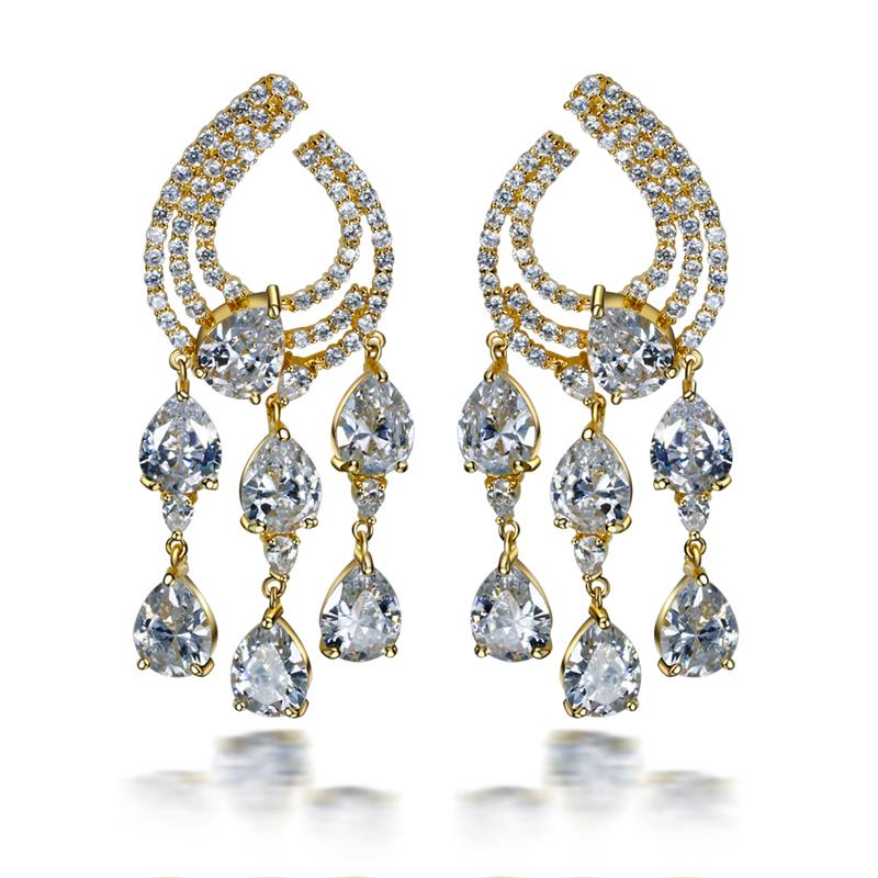 все цены на Romantic Women Cubic Zirconia Tassel Big Drop Earrings Gold Color Plated AAA CZ Bohemia Long Earrings Fashion Jewelry