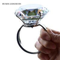 Wedding Decoration 8cm Crystal Glass Large Diamond Ring Romantic Proposal Marriage Props Home Ornaments Party Gifts Souvenirs