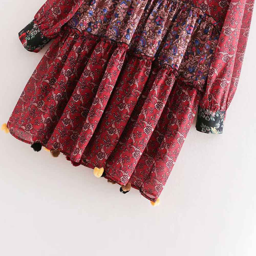 a8fac870e8f5d ANSFX Bohemia Vintage Ethnic Bloom Red Floral Print Ruffled Collar...