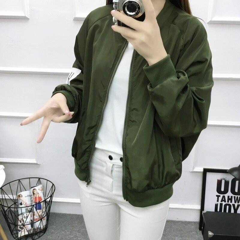 Basic Jacket Women Retro Letter Printing Zipper Up Bomber Jacket Brand Casual Coat Autumn Slim Outwear baseball Clothes V11