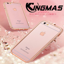 KINGMAS Luxury diamond aluminum bumper for iphone X XS crown buckle frame for iphone 6 6s 7 8 Plus metal phone case cover Coque