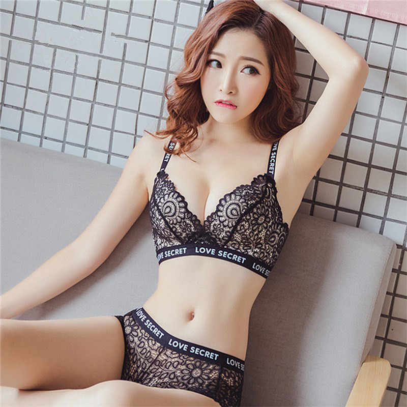 50d49d077b3b7 Women Lady Sexy Bralette Underwear Satin Lace Embroidery Push Up Bra Sets  With Panty Briefs Set