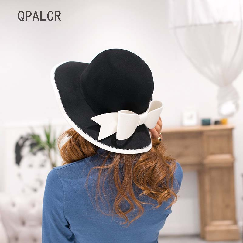 QPALCR British Style Women's Hat Dome Wide Brim Wool Fedora Vintage Bow Bowler Hats Fashionable Elegant Female Wool Felt Hat