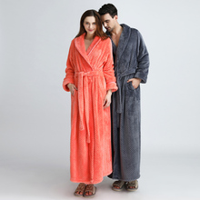 Men Winter Extra Long Knitted Waffle Flannel Coral Fleece Bathrobe Male Full Sleeve Kimono Bath Robe Women Warm Dressing Gown