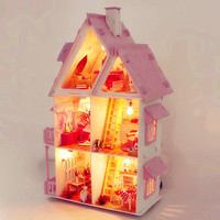 DIY Handmade Villa 42cm Princess Dream House Building Kits Wooden House Furniture Handcraft Miniature Original Box Birthday Gift