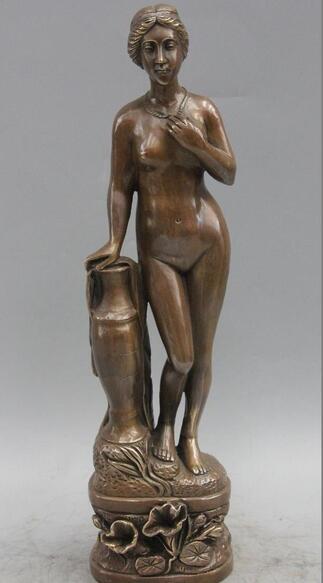Western Art sculpture Bronze Beautiful woman Nude Girl Belle Lotus Vase StatueWestern Art sculpture Bronze Beautiful woman Nude Girl Belle Lotus Vase Statue