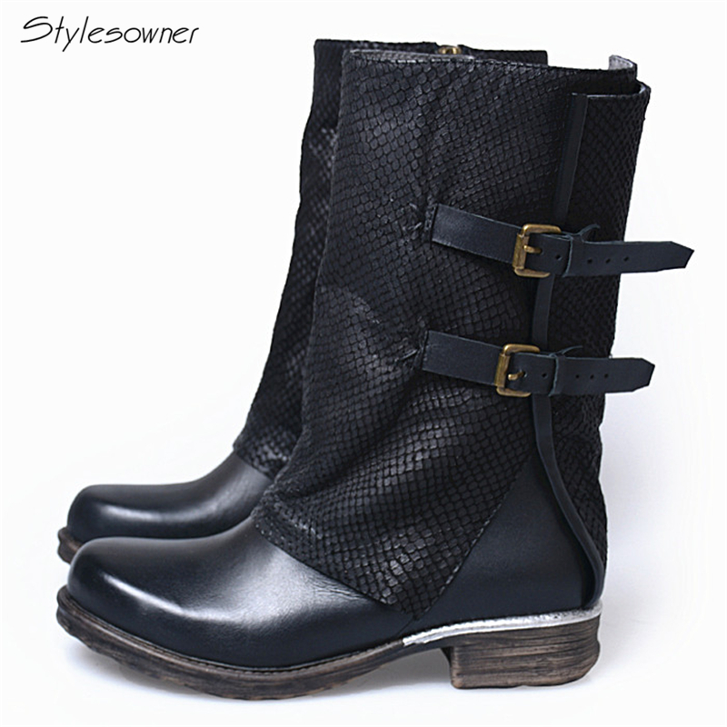 Stylesowner Personal Crack High Quality Keep Warm Winter Knight Boots Low Heels Cow Leather Soft Sole Comfortable Women Boots Stylesowner Personal Crack High Quality Keep Warm Winter Knight Boots Low Heels Cow Leather Soft Sole Comfortable Women Boots